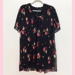 Zara- Black Floral casual dress